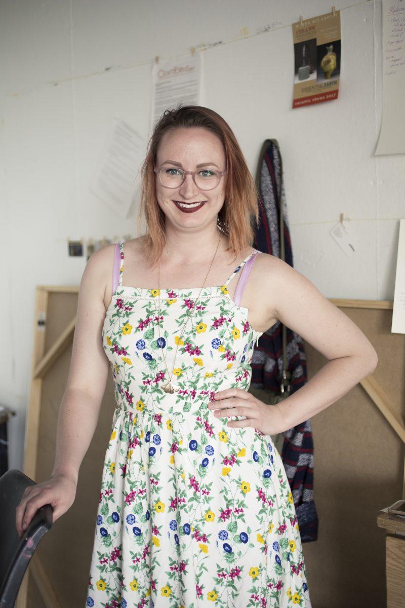 Sam Diamone, in her studio at Moore College of Art and Design