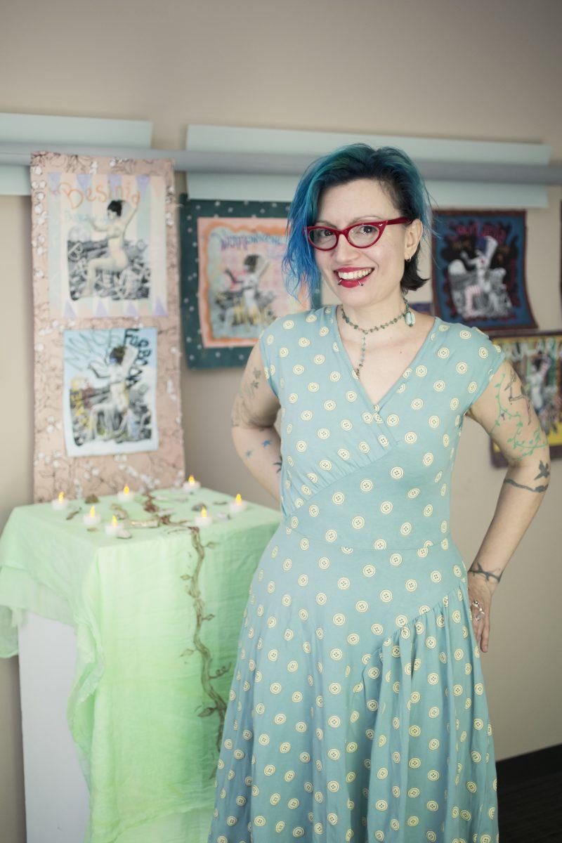Suki Valentine, in her studio at Moore College of Art and Design