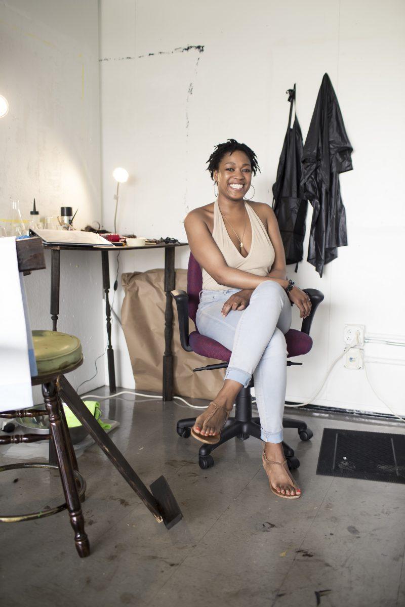 DeJeonge (Dee Dee) Reese, in her studio at Moore College of Art and Design