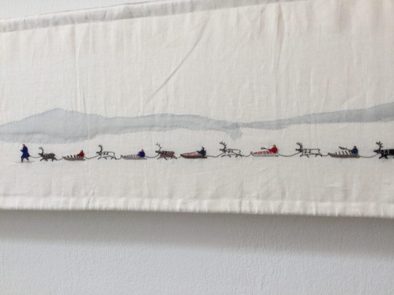 (Detail) Britta Marakatt-Labba, (b. 1951, Idivuoma, Sweden) Historja (2003-07), embroidery, print, appliqué and wool on linen