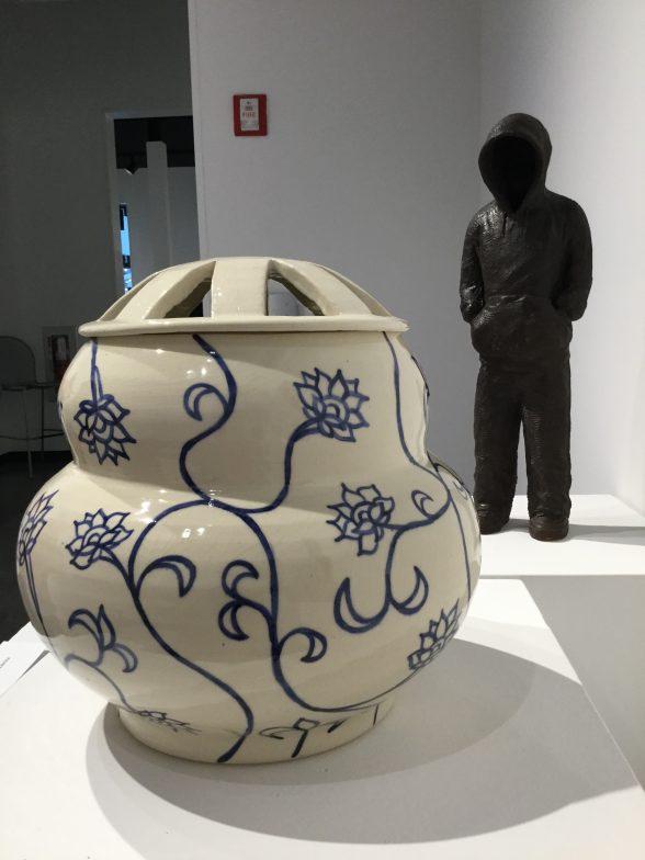 "Roberto Lugo and Yelizaveta Masalimova ""What Remains"" 2017. Sculpture by Masalimova, jar by Lugo, stoneware, slip, glaze"