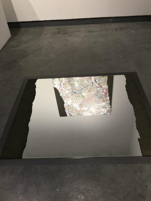 "Mat Tomezsko, ""Silver Vision"" 2017, detail, acrylic, sher-cryl, asphalt, enamel on panel; asphalt on mirror"