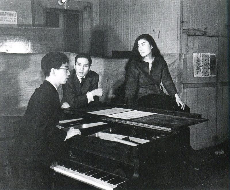 Yoko Ono with Toshi Ichiyanagi (at the piano) and Toshiro Mayuzumi at Chambers Street loft.