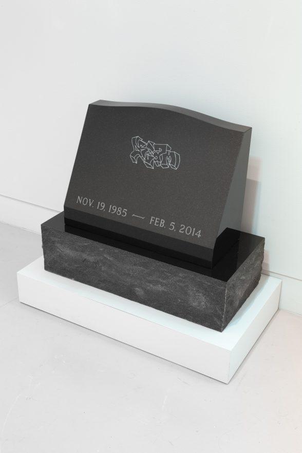 "Astrid Bowlby, ""Alternative Marker,"" 2017, engraved granite, 25"" x 30 1/4"" x 15"""