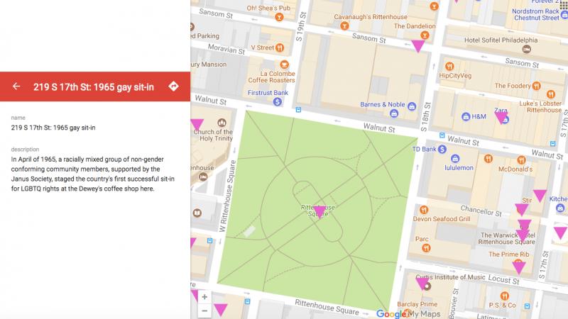 Geo-map detail, LGBT history map of Philadelphia by Bob Skiba