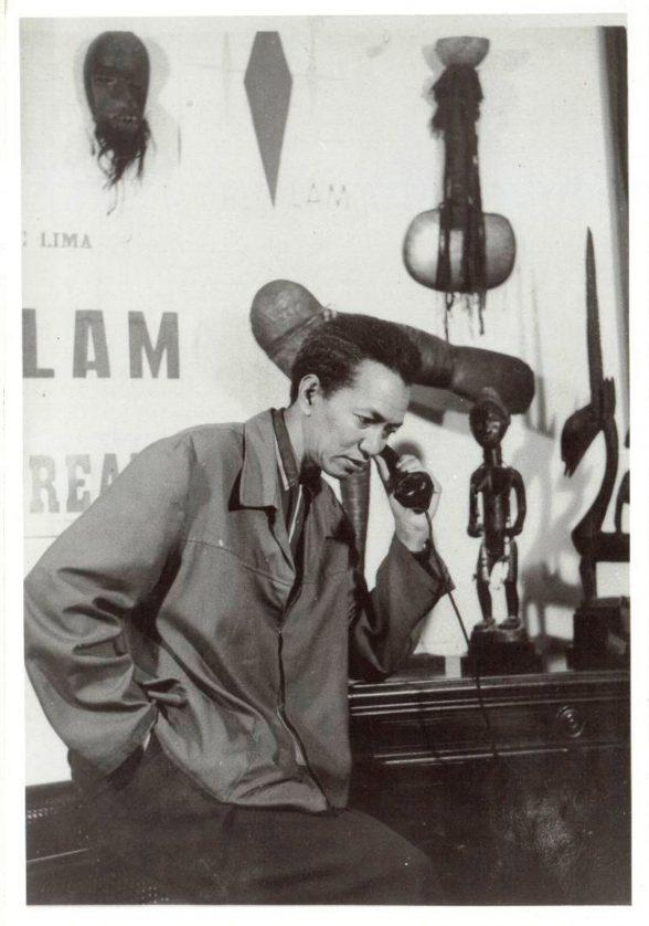 Wifredo Lam in his Havana Studio, c. 1955. Image courtesy of Juan Castillo Vázquez.