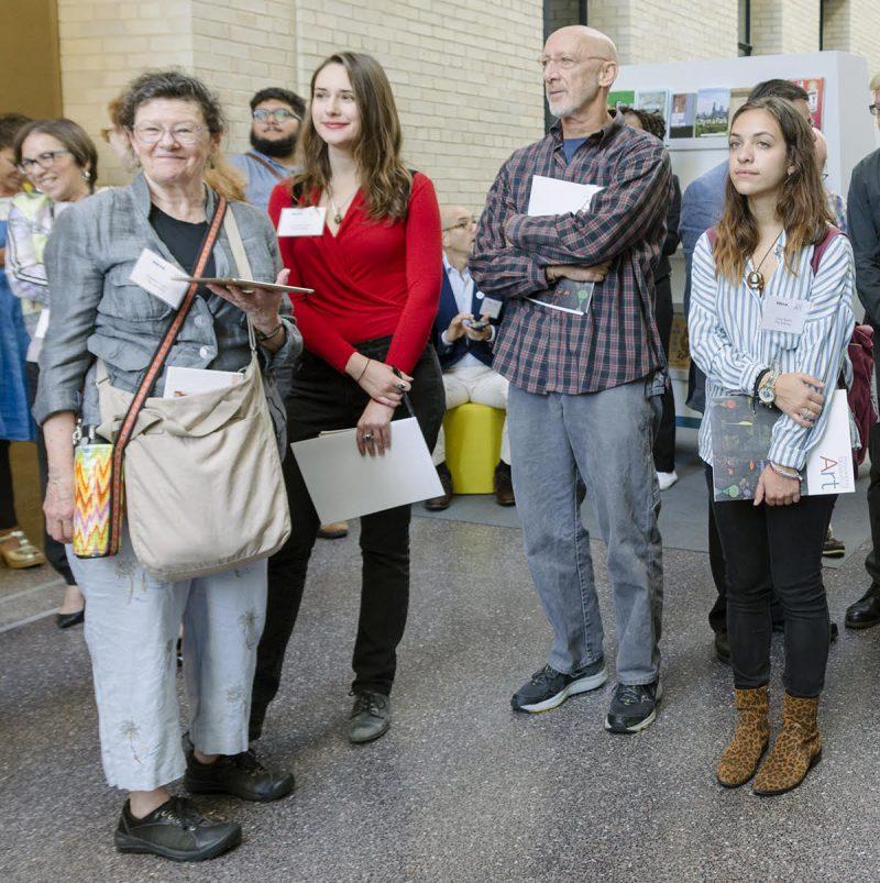 Artbloggers at Work, (l-r) Roberta, Catherine Rush, Michael Lieberman, Carly Bellini. Photo by Stephen Perloff