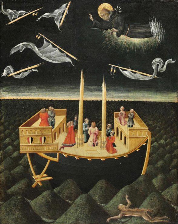 """Saint Nicholas of Tolentino Saving a Shipwreck,"" 1457, Giovanni di Paolo; image credit: John G. Johnson Collection, 1917."
