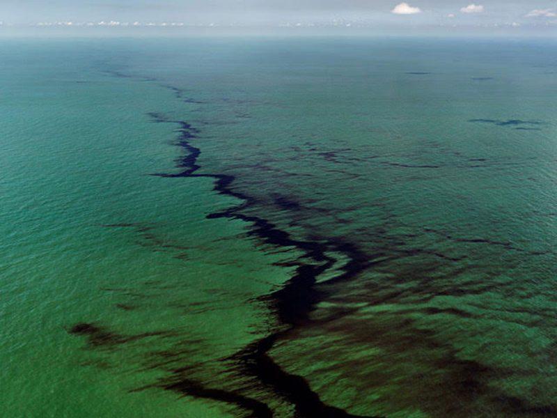 Edward Burtynsky, Canadian, born 1955, Oil Spill #10, Oil Slick, Gulf of Mexico, June 24, 2010, 2010. Chromogenic Colour print. Courtesy Howard Greenberg Gallery. © Edward Burtynsky, courtesy Howard Greenberg Gallery and Bryce Wolkowitz Gallery, New York.