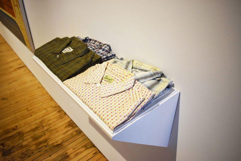 """Eshericks shirts borrowed from The Wharton Esherick Museum. At """"Becky Suss/Wharton Esherick"""" at Fleisher/Ollman. Photo courtesy of Mandy Palasik."""