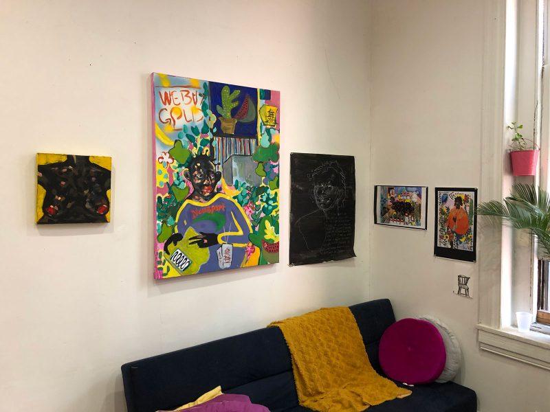 In progress works at Patricia Thomas's 40th Street Artist in Residence studio. Photo Courtesy of Morgan Nitz