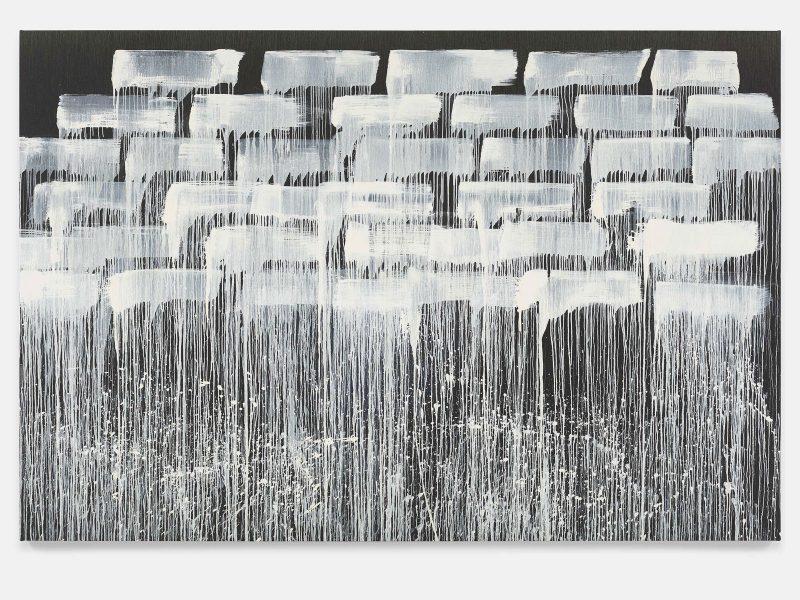 Pat Steir, The Barnes Series II, 2018. Oil on canvas. 86 3/8 x 129 1/4 inches. © Pat Steir.