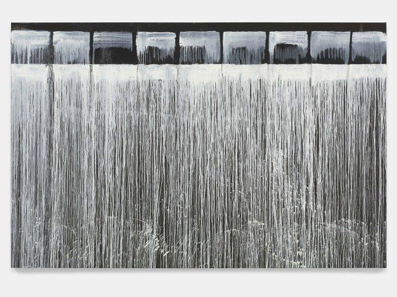 Pat Steir, The Barnes Series III, 2018. Oil on canvas. 86 3/8 x 132 1/8 inches. © Pat Steir.