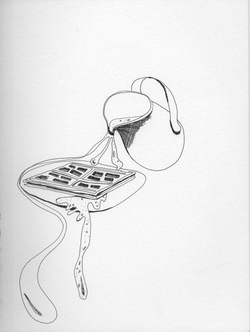 """""""Lunch Break"""" by Liz Griffin. Pen on paper"""