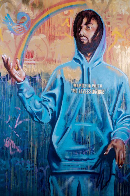 "B-Mike, ""Baptized"", 12' x 9', spray paint. Photo courtesy of the artist's website."