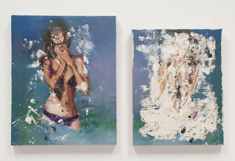Bikini Girl 2, 2000. Oil on canvas. 16 x 20 in (L), 14 x 18 in (R). Image courtesy of the Mishkin Gallery.