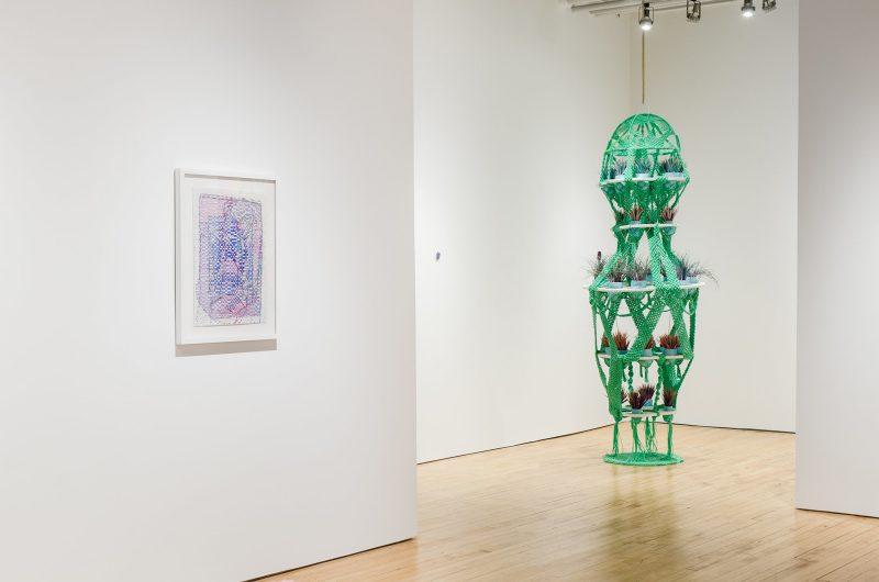 "Lisi Raski, ""For Ahmed (1)"" (Left), Jesse Harrod, ""Bonbon"" (Right). From Mending and Repair in Response, Fleisher Ollman Gallery. Photo courtesy Fleisher Ollman."