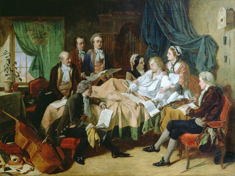 Henry Nelson O'Neil, The Last Hours of Mozart. 1860s. (http://19thcenturybritpaint.blogspot.com/2012/10/henry-nelson-oneil-ctd.html)