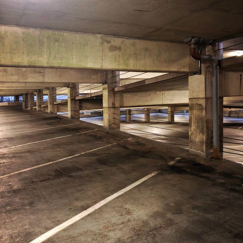 An empty parking garage.