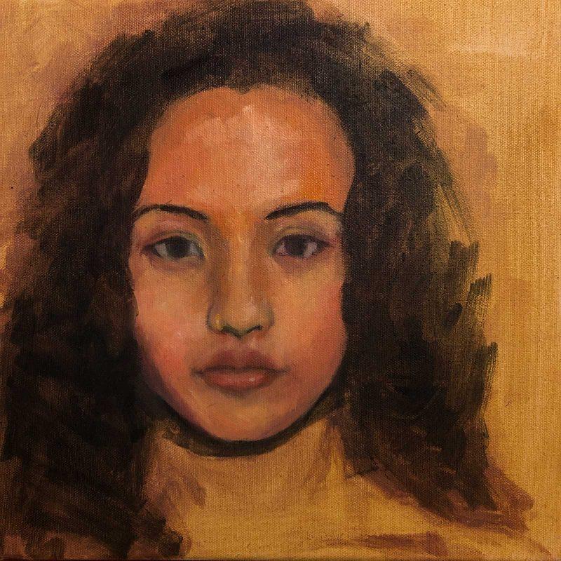 Underpainting of an In progress self portrait.