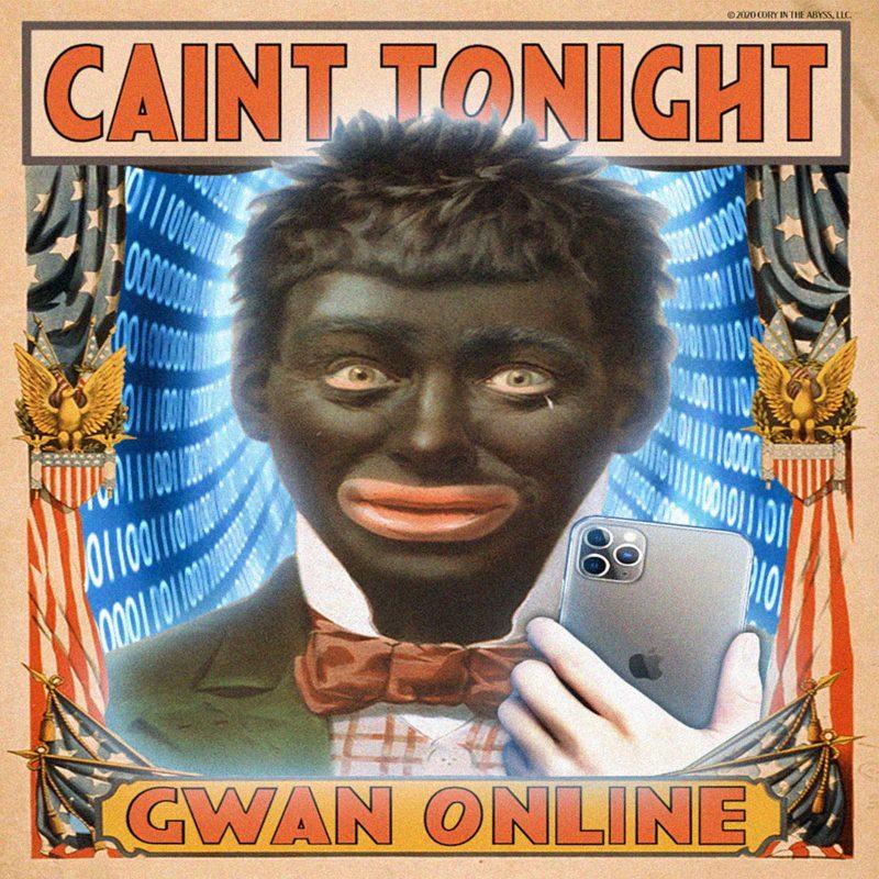 "A boy in blackface taking a mirror selfie with caption ""CAIN'T TONIGHT / GWAN ONLINE"""