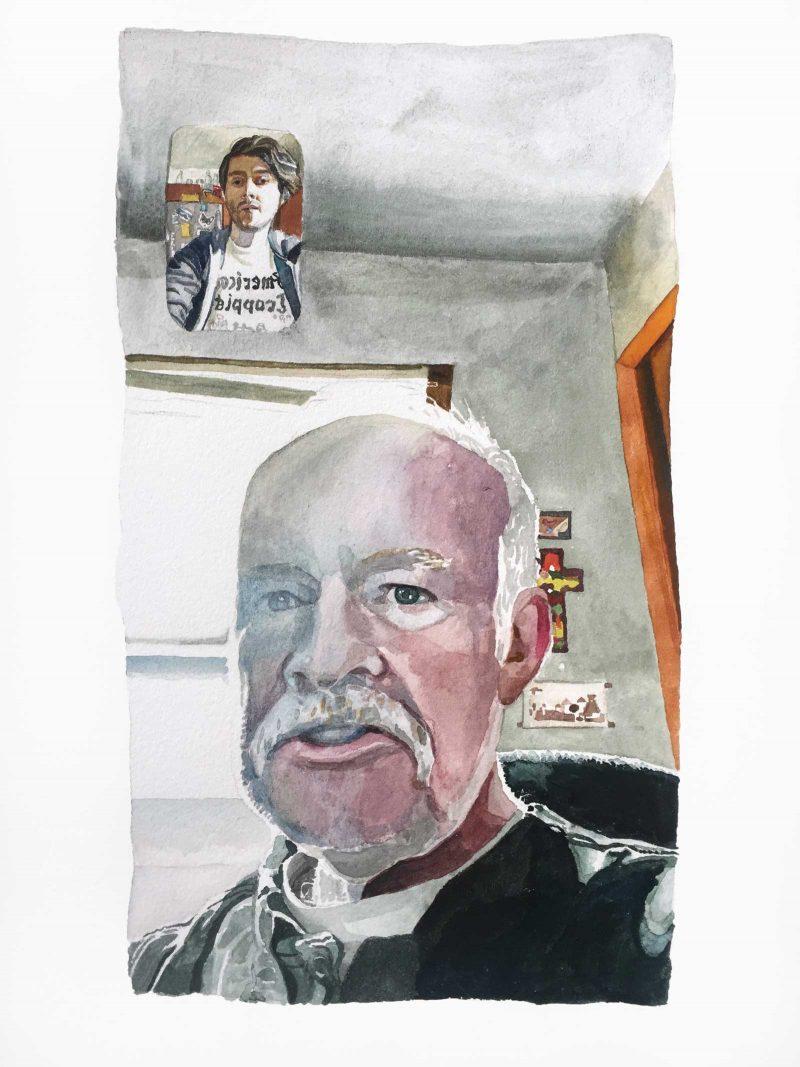 Watercolor of Aaron FaceTiming their dad.