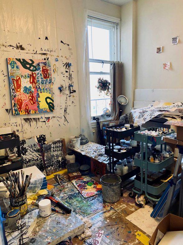 Tim McFarlane's painting studio.