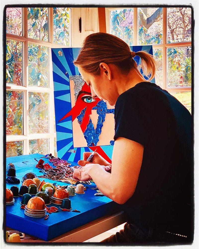 Annabel working in her studio.