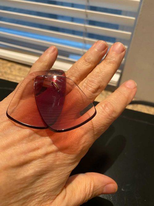 Mari Shaw wearing a sunglass lens ring by Jiro Kamata