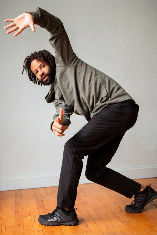 Vince Johnson dancing and looking at the camera