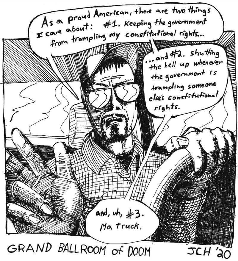 "One panel comic of ""Grand Ballroom of Doom"""