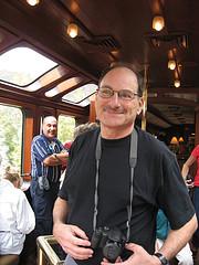 Barry enjoys the Hiram Bingham train observation/bar car