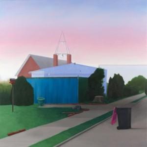 """Erin Murray, Settling (breast cancer awareness), 2013, oil on panel, 24""""x24""""."""