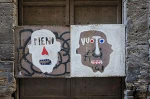 Street art in Palermo (Pieno-Vuoto means Full-Empty)