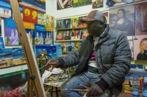 Ivorian artist Georges Bilé in his studio, Palermo