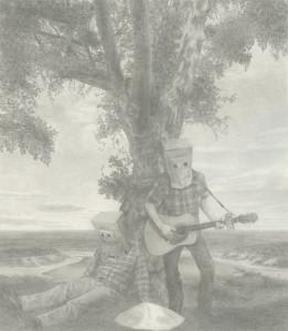 "Rob Matthews, Work Hard, Play Hard, graphite on paper, 18"" x 16"", 2011"