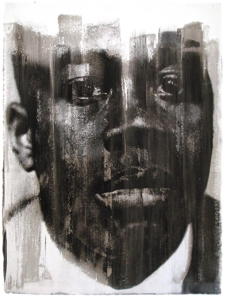 "Donald E.Camp, Man Who Hears Music, Andre Raphael Smith, Earth pigment and casein mono-print, 22"" X 30"", 2006"