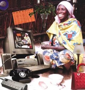"""""""Working Woman,"""" 1997, computer montage (inkjet on foam board), 50 x 48 in. © Fatimah Tuggar, BintaZarah Studios"""