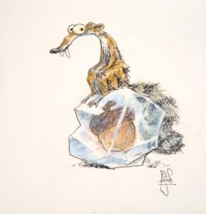 Caption: Scrat, character study for Ice Age, Peter de Sève, 2009