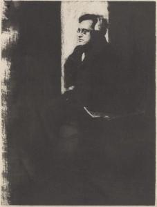 """Portrait Study of John Sloan,"" 1907, gum bichromate, 10.5 x 6.5 in."