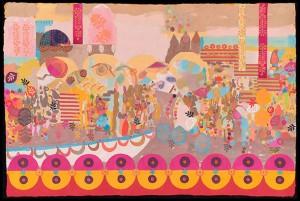 """Mid Morning"" Diane Pieri 20""x30""gouache, decorative papers, block printing on Lokta paper"
