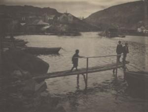 """""""Untitled (Three Children on Log Pier, Newfoundland),"""" 1912, platinum, 7 x 9.5 in."""