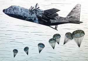 "Joe Girandola, ""I Drop Bombs...help is on the way,"" 2012. Duct tape on canvas."