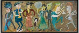 Jon Serl 'Family Band' oil on board, 43-3/4 x 104 in., PMA, Bonovitz Collection
