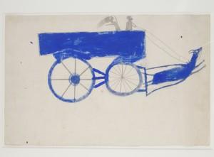 Bill Traylor 'Runaway Goat Cart' (c. 1939-42) wc, 14 x 22 in., PMA, Bonovitz Collection