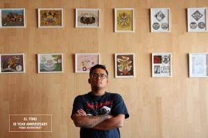 El Toro, with his works. Photo copyright El Toro, courtesy of the artist's website