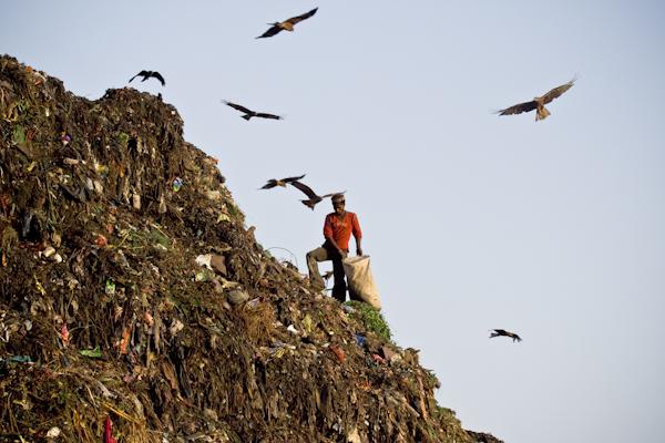 "Man on a ""cliff"" in a landfill. Photo copyright Enrico Fabian."