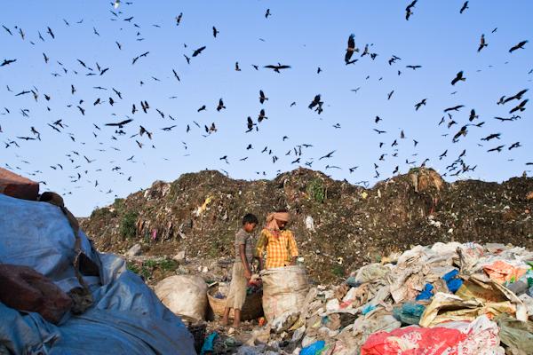 Sorting trash in a landfill. Photo copyright Enrico Fabian.