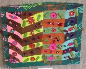 Giordani Rodriguez, Garden, 2013, Bristol board, Tempera, Inks, Collage