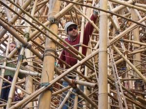 Finishing the Starns' Big Bambú at the MACRO Testaccio, Rome